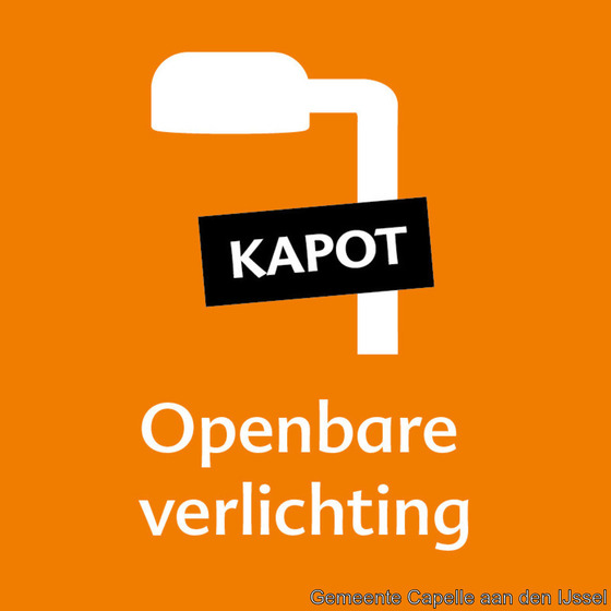 Kapotte straatverlichting in 's-Gravenland
